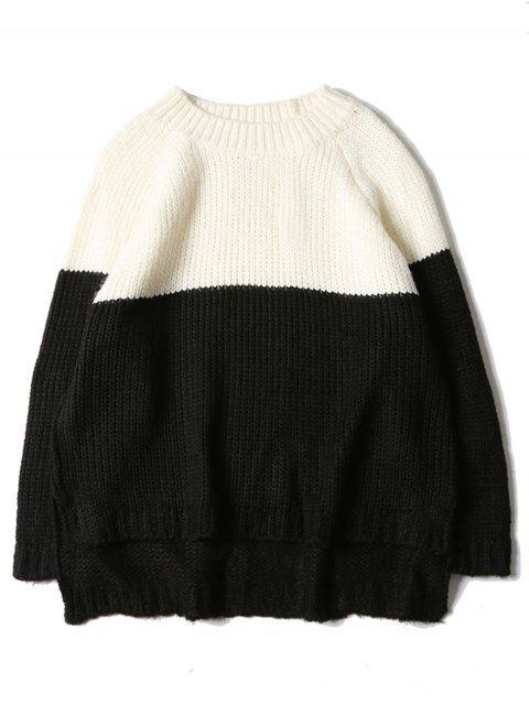 women Crew Neck Color Block Raglan Sleeve Sweater - BLACK WHITE L Mobile