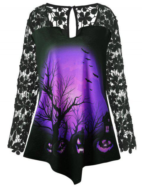 Halloween Spitze Einsatz Kürbis Übergroße Tunika T-Shirt - Lila 5XL Mobile