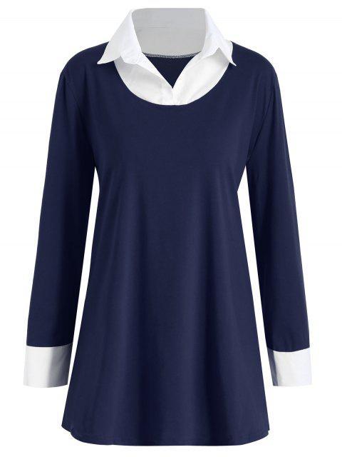 Shirt Kragen Plus Größe zwei Ton T-Shirt - Schwarzblau 4XL Mobile