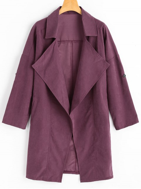buy Drop Shoulder Lapel Trench Coat - PURPLISH RED 2XL Mobile