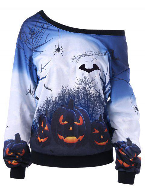 Halloween Plus Größe Skew Neck Kürbis Print Sweatshirt - Weiß 2XL Mobile