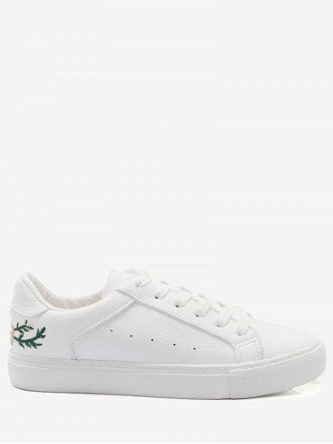 Kunstleder Stickerei Blume Skate Schuhe - Weiß 37 Mobile