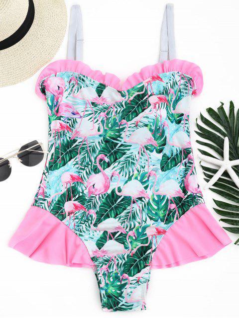 online Flamingo Print Ruffled Swimwear - COLORMIX L Mobile