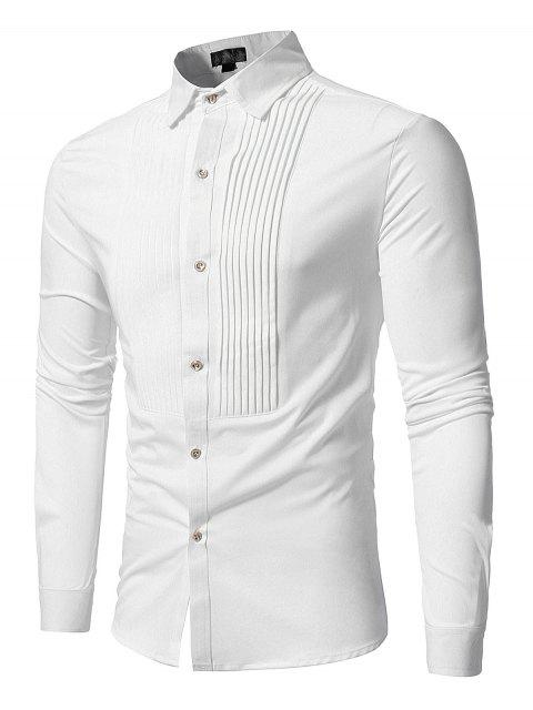 online Front Pleated Casual Long Sleeve Shirt - WHITE M Mobile
