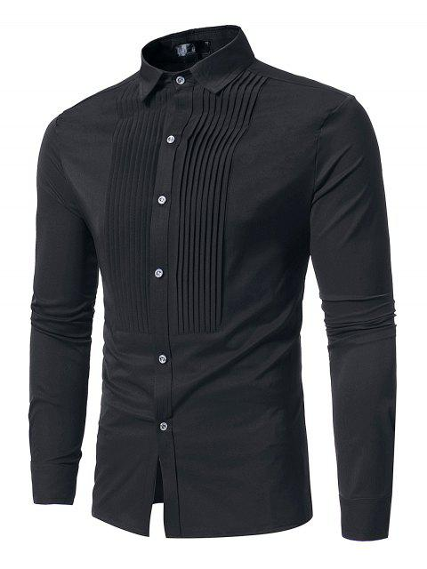 hot Front Pleated Casual Long Sleeve Shirt - BLACK XL Mobile
