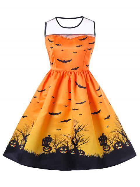 Halloween Mesh Insert Plus Größe A Linie Kleid - orange  3XL Mobile