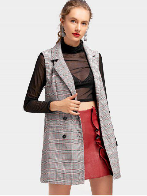 unique Back Slit Plaid Longline Waistcoat - CHECKED M Mobile