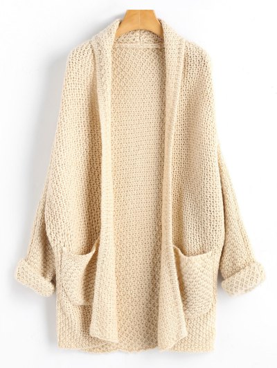 Curled Sleeve Batwing Open Front Cardigan - Light Apricot