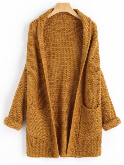 Curled Sleeve Batwing Open Front Cardigan - Light Coffee