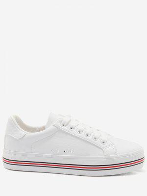 Faux Leather Color Block Skate Shoes
