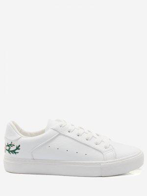 Faux Leather Embroidery Flower Skate Shoes