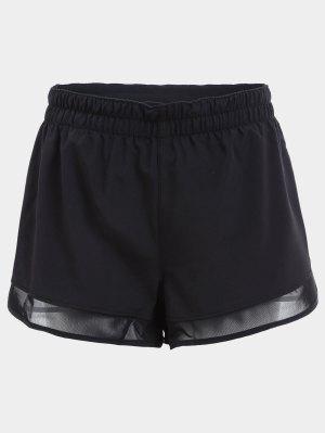 Overlay Mesh Panel Drawstring Sport Shorts