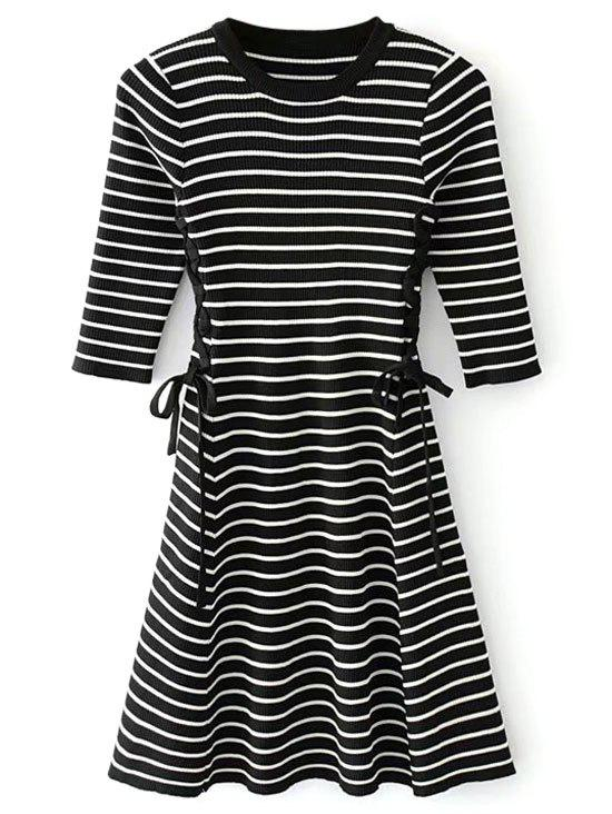 Lace up Ribbed Sweater Dress 228341602