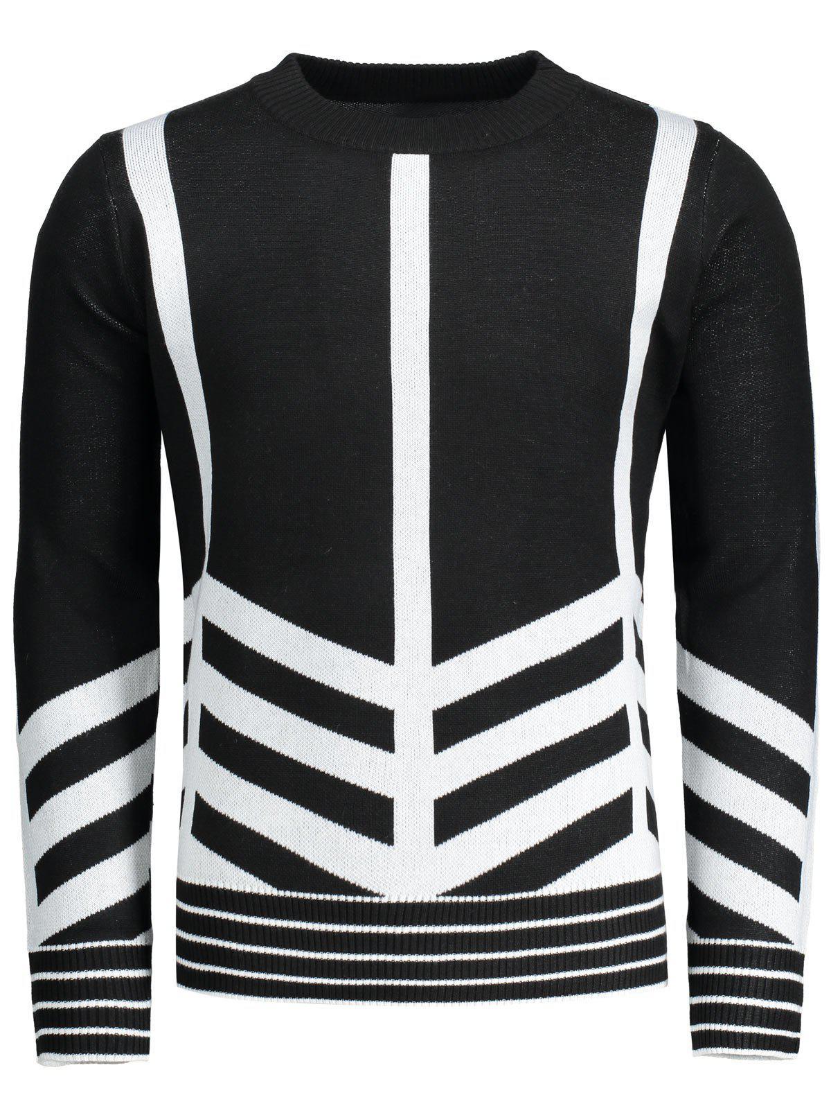 Crew Neck Geometric Patterned Sweater 229901901