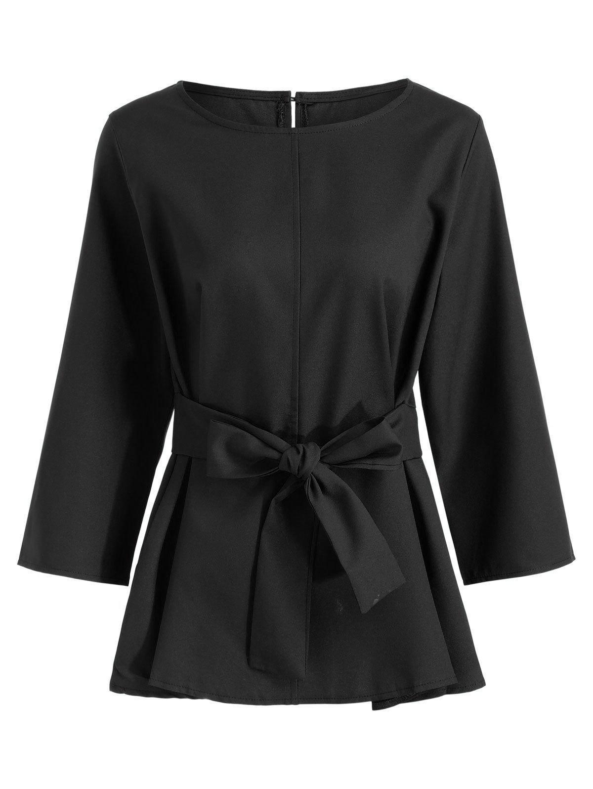 Plus Size Self Grtel Dressy Bluse
