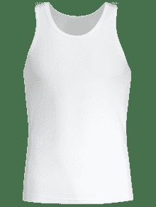 Blanco Redondo L Sporty Tank Cuello Top pgqqB