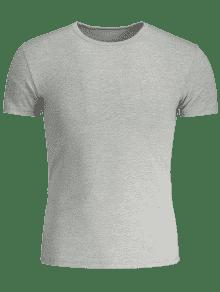 3xl Corta De Delgada Y Manga Gris Camiseta AYvgqEww