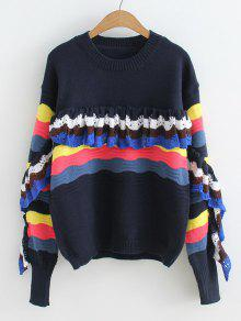 Ruffles Stripes Painel Pullover Sweater - Preto