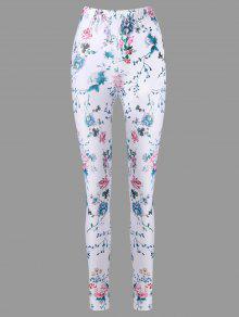 Pantalones De Cigarrillos Florales Minúsculas Cintura Alta - Blanco 2xl