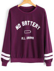 Casual Letter Stripes Panel Sweatshirt - Rojo Purp