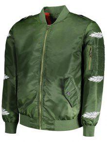 Verde Bombardero 243;n Impresi De La De Pluma 6xl Del Chaqueta La 5qa4wTnz