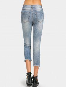 blumenstickerei ausgefranster saum zerrissene jeans denim. Black Bedroom Furniture Sets. Home Design Ideas