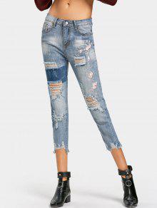 جينز ممزق مطرز بنمط الأزهار مهتريء الحاشية - ازرق M