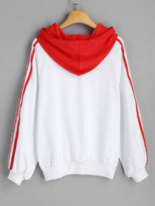 Letter Trim M Contraste Hoodie Rojo Ribbons TaxvE