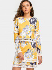 Tassels Embellished Floral Top E Conjunto De Saia - Amarelo M
