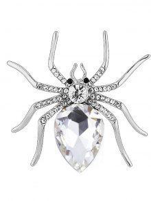 حجر الراين العنكبوت شكل سبيكة بروش - أبيض