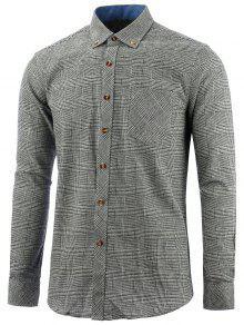 Camisa De Chequeo De Bolsillo Con Botones - Gris L
