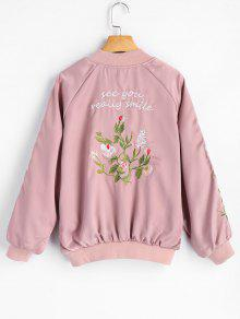 Zip Up Floral Embroidered Pilot Jacket