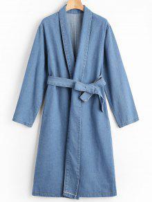 Manteau Denim Long Col Châle Avec Ceinture - Bleu