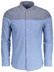 جيب زر أسفل اللون كتلة قميص - الضوء الأزرق Xl