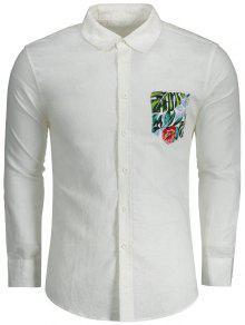 Botón De La Camisa De Bolsillo Impreso - Blanco L