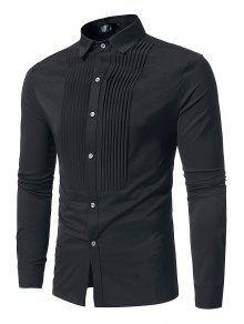 Camisa De Manga Comprida Casual Plissada Dianteira - Preto S
