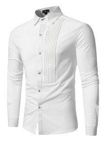 Front Plisado Camisa De Manga Larga Informal - Blanco Xl