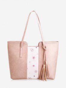 حقيبة كتف بطبعة زهور وفراشات مزينة بشرابتين - زهري