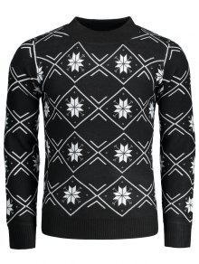 Suéter A Cuadros Con Copos De Nieve De Mock Neck - Negro L