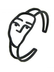 سبيكة مضحك الوجه الكفة سوار - أسود