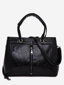 حقيبة توتي من الجلد المصنع بسحاب - أسود