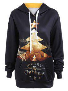 Merry Christmas Glitter Tree Elk Snowflake Hoodie - Preto M