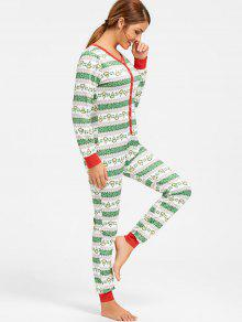 bfd4a4ab598f 29% OFF  2019 Printed One Piece Christmas Pajama In COLORMIX