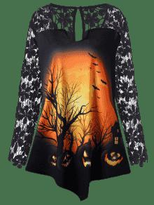 De Calabaza De o Tama De 250;nica Encaje Negro Camiseta De Grande T Extra Halloween Xl AqxwdZA4