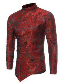 بروكيد بيزلي قميص غير متناظر هيم - أحمر M