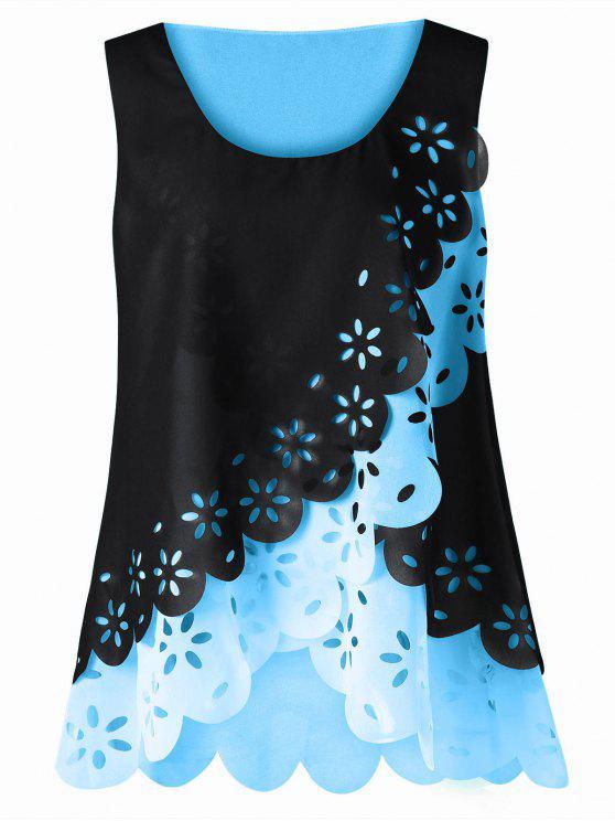 Tamaño más ahueca hacia fuera la blusa festoneada - Celeste XL