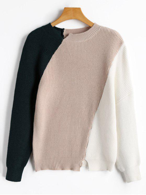 new Slit Color Block Sweater - APRICOT ONE SIZE