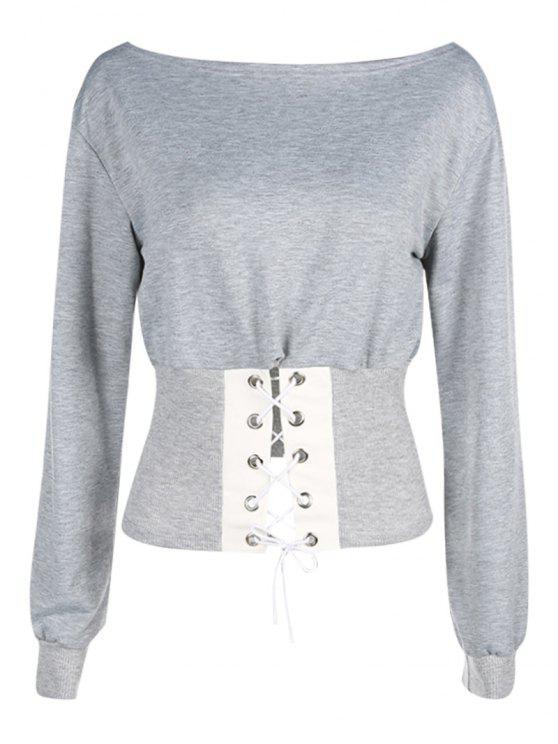 online Corset Lace Up Off Shoulder Sweatshirt - GRAY L