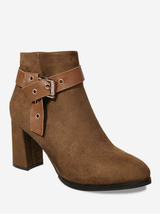 Buckle Strap Side Zipper Ankle Boots - Brown 36