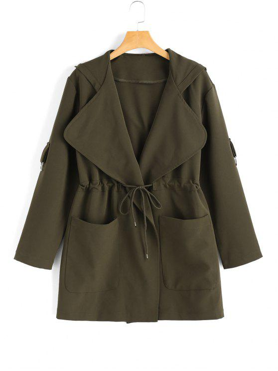 Hooded Belted Coat With Pockets - Army Green Xl